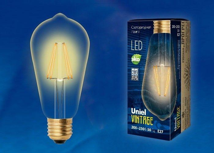 Светодиодная лампа Uniel ST64 E27 5W(450lm) 2250K филамент (нитевидн) золотист. Vintage 64x142 LED-ST64-5W/GOLDEN/E27