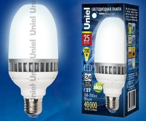 Светодиодная лампа Uniel высокомощн. E27 25W(2100lm 270°)  4000K 4K алюм/матов. 156x69 LED-M69-25W/NW/E27/FR