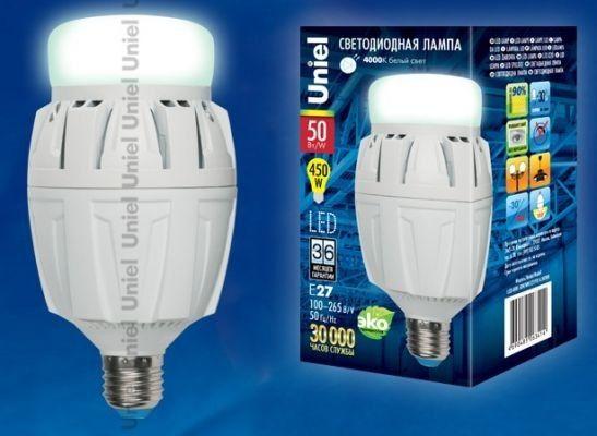 Светодиодная лампа Uniel высокомощн. E27 50W(4600lm 180°) 4000K 4K алюм/матов. 166x88 LED-M88-50W/NW/E27/FR