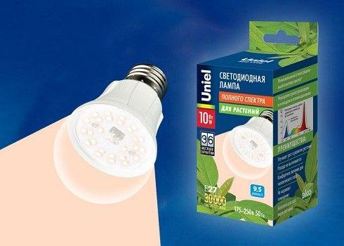 Светодиодная лампа Uniel лампа св/д для растений A60 E27 10W прозрачная/алюминий! LED-A60-10W/SPFR/E27/CL PLP01WH