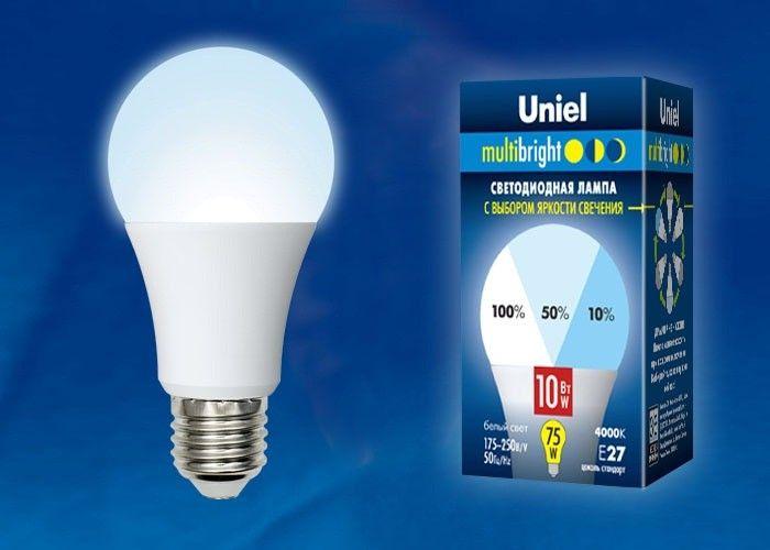 Светодиодная лампа Uniel ЛОН A60 E27 10W(850lm) (диммер 100-50-10%) 4000K матовая Multibright LED-A60-10W/NW/E27