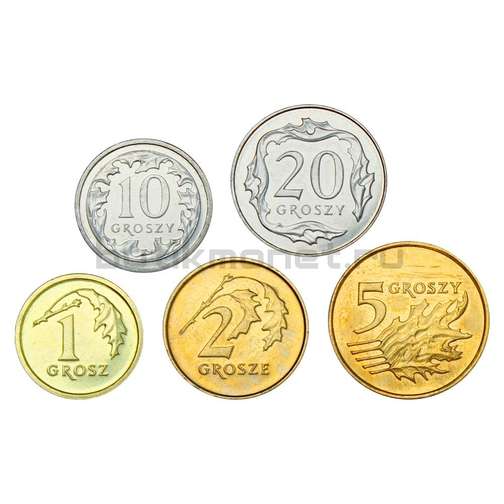 Набор монет 2010-2014 Польша (5 штук)