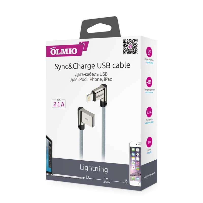 Кабель Olmio Lightning USB 2.0 угловой в тканевой оплетке, 1м
