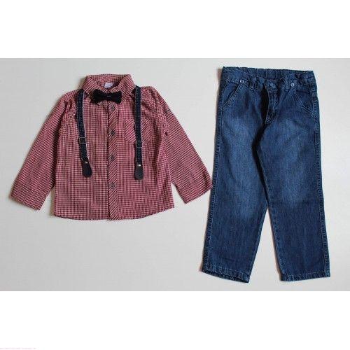 Костюм с джинсами бордовый