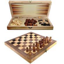 Настольная игра 3 в 1 Шахматы, Шашки, Нарды (деревянные).