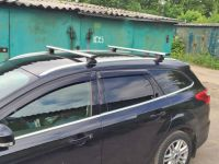 Багажник на интегрированные рейлинги Ford Focus 3 sw universal 2011-..., Amos, крыловидные дуги