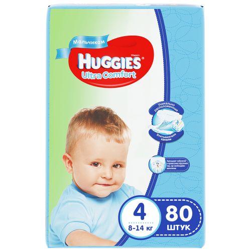Подгузники Huggies Ultra Comfort для мальчиков 4 (8-14кг), 80шт