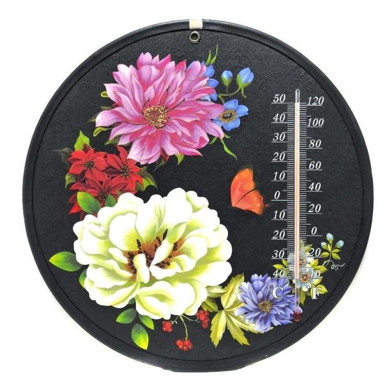 Декоративный круглый комнатный термометр Termometro, Крупные цветы
