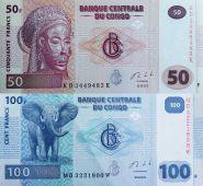 НАБОР АФРИКА КОНГО(ЗАИР) 50 + 100 ФРАНКОВ, ПРЕСС, из ПАЧКИ