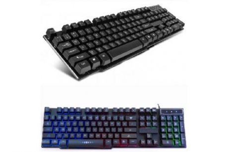 Проводная мультимедийная клавиатура с подсветкой Ritmix RKB-200BL