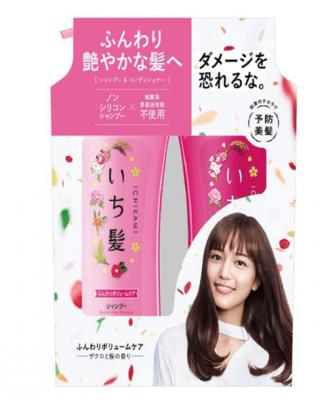 Kracie Ichikami Набор Revitalizing: Шампунь 480 мл + кондиционер 480 гр для придания объема поврежденным волосам с ароматом граната