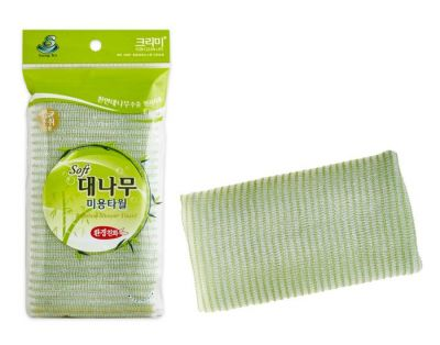 Bamboo Мочалка для душа (28х100),  бамбуковое волокно (зеленая), 1шт