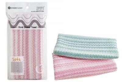 Vivid Мочалка для душа 90х28, средней жесткости (в розовую полоску, в зеленую полоску), 1шт